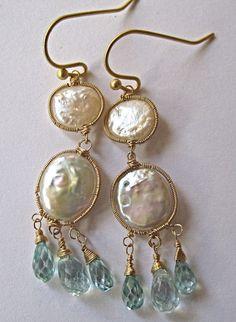 18K/14K Solid Gold  AAA Coin Pearls & Blue Zircon double drop Earrings