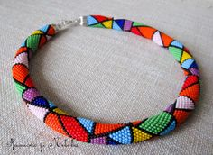 #Colourful Geometry #Bead Crochet #Necklace and by NecklaceFromLviv