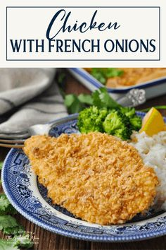 Oven-fried chicken breasts are coated in a crispy onion breading and baked until golden brown! Perfect on busy weeknights, this French Fried Onion Chicken is ready in just 30 minutes. Serve it with honey mustard for dipping, plus a side of rice and broccoli for an easy dinner that the whole family will love! French Fried Onion Chicken, Fried Chicken Breast, French Fried Onions, Oven Fried Chicken, Chicken Breasts, Delicious Dinner Recipes, Yummy Recipes, Recipies, Cooking Recipes
