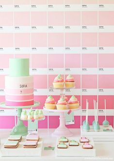 "pantone party by sweet style via tomkat studio: a really great way to give a normal ""pink"" theme a boost. honestly, i want a pantone party for myself now. Desserts Roses, Rosa Desserts, Baking Desserts, Health Desserts, Party Kulissen, Party Time, Party Ideas, Sofia Party, Party Summer"