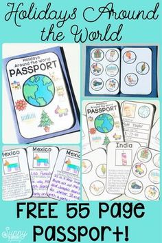 What's better than a FREE 55 page Holidays Around the World Passport? Links to all the songs, videos and brain breaks you need for your entire holiday unit! around the world Holidays Around the World – Videos, Songs & LOTS of Links Around The World Theme, Celebration Around The World, Holidays Around The World, Around The Worlds, Around The World Crafts For Kids, Kindergarten Social Studies, Social Studies Activities, Classroom Activities, In Kindergarten