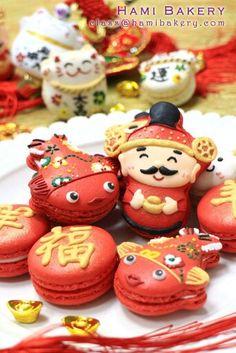 Lunar new year macarons Chinese New Year Desserts, Chinese New Year Cookies, New Year's Desserts, Chinese Food, Macaron Cookies, Meringue Cookies, Macaron Recipe, Almond Cookies, Photo Kawaii