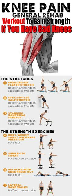 Knee pain is a common exercise complaint. The knee is an intricate joint, involving bones, menisci, Vitamins For Nerves, Knee Pain Exercises, Knee Physical Therapy Exercises, Knee Stretches, Physical Exercise, Chiropractic Treatment, Knee Pain Relief, Sciatic Pain, Bad Knees