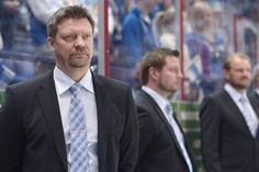 Finland's head coach Jukka Jalonen reacts during the Group H game Kazakhstan vs Finland in the 2012 IIHF Ice Hockey World Championships in Helsinki, Finland, on May 14, 2012