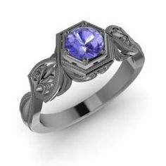 Rings - Paloma - Tanzanite Ring in 14K Black Gold (0.45 ct.tw.)