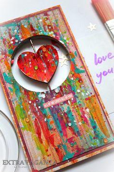 "Extravaganza: Видео мастер-класс по яркой Валентинке с интерактивным элементом/Video tutorial ""Bright Valentine Card"""