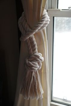 """curtain tieback... I will order 10' of 3/4"""" thick rope for each tie-back. Better too much than not enough. Not sure real rope will fringe as nicely as this cotton rope, but, more authentic beachy feel."""