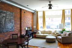 New York Loft Design. Exposed Natural Brick Adds Rustic Texture to Your Interior Design. Birmingham, NY Loft Space.