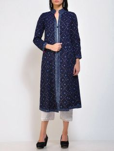 Indigo Bandhani A-Line Cotton Jacket
