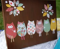 Easy DIY Kids Room wall art: Whimsical Owls. would be cute to do with ladybugs too for my little lady