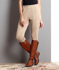 Another great find on #zulily! Mocha Cable-Knit Pants by Reborn Collection #zulilyfinds