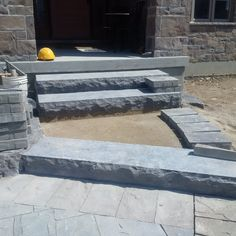Prestige Landscaping in the process of a Natural Stone Hampton Limestone Step Installation
