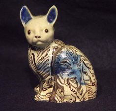 An English Pottery Agate Model of a Cat, Circa 1775.