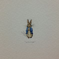 """Day 185: """"Believe there is a great power silently working all things for good, behave yourself and never mind the rest."""" - Beatrix Potter. 6 x 17  mm. #365paintingsforants #miniature #watercolour #peterrabbit #beatrixpotter  (at Vredehoek)"""