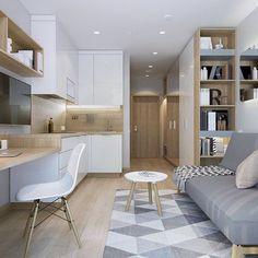 small studio apartment ideas 100 Small Studio Apartment Layout Design Ideas home design Home Design, Condo Interior Design, Condo Design, Küchen Design, Layout Design, Studio Design, Kitchen Interior, Modern Interior, Interior Design Ideas For Small Spaces
