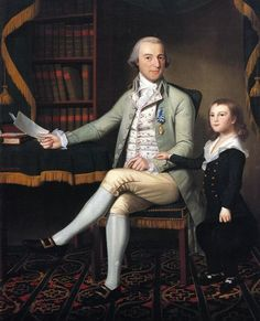 Colonel Benjamin Tallmadge, an influential member of the Continental Army during the American Revolutionary War, with his son William Tallmadge. This is a 1790 portrait by American painter Ralph Earl.