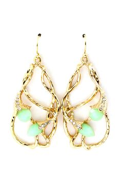 """Crystal Lily Earrings in Soft Mint on Emma Stine Limited   Stunning Art Nouveau in flair, Lightly Hammered Lilies weaved in a Teardrop.    EARRINGS SIZE: 2"""" drop  EARRINGS CLOSURE: Fish hook ear wire    Hypo Allergenic / Hammered Gold Plated Crystal Cabochon Teardrop Earrings    Style # ESE11023"""