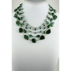 Margo Morrison Faceted Raw Emerald Five Strand Necklace