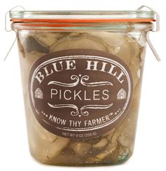Pickles from Blue Hill Stone Barns available for $14 at http://www.newyorkmouth.com/products/blue-hill-pickled-cucumbers