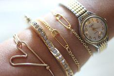 DIY Safety pin chain bracelets.