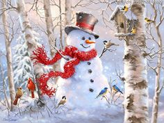 1415c - Birch Forest Snowman and Songbirds.jpg | Gelsinger Licensing Group