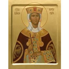 A painted icon of Holy Tsarina Alexandra. Commemorated on July 17. Materials Natural wooden board (lime, pine, alder) with oak splines cloth from low-count fabric (linen, canvas) gesso acrylic / tempera paints gold leaf of various hues tinted wax linseed oil hide glue varnishes (mordant, kauri gum, acryl-styrolic). Sizes Available in the following sizes: 16,5×21,5 cm, 19×25 cm, 23,5×31 cm, 27×35 cm, 30×41 cm, 40×52 cm. Decorated with gold-plating of the background, the margins and th...