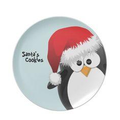 Santa Penguin Custom Christmas Plate