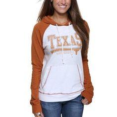 Texas Longhorns Ladies Slub Raglan Pullover Hoodie - White/Burnt Orange