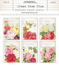 Digital Shabby Chic Vintage Floral Library Cards / romantic