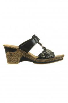 Rieker Pantolette/Sandalle in schwarz mit Plateuasohle (60647-00) $49.95