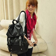 Trendy Casual Travel Bag Concise PU Leather Backpack With Multi Pocket
