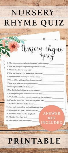 Printable nursery rhyme game for baby showers by LittleSizzle. Click through to instantly download your own baby shower games for girls or re-pin for later! Floral nursery rhymes quiz printable for a gender neutral baby shower. A fun way to entertain your baby shower guests! An answers key with all the answers to the nursery rhymes quiz questions is included in this printable. Complete the look with our other floral themed baby shower games #printables #babyshowergames #floralbabyshower…