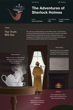 Arthur Conan Doyle's The Adventures of Sherlock Holmes Infographic to help you understand everything about the book. Visually learn all about the characters, themes, and Arthur Conan Doyle. British Literature, Literature Books, Classic Literature, Classic Books, Shakespeare, Book Infographic, Adventures Of Sherlock Holmes, Sherlock Holmes Quotes, Book Study