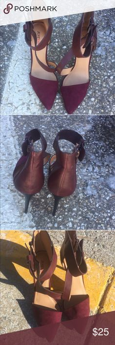 JUST FAB HEELS Super chic & cute burgundy heels. Worn once. Has some scratches at the top of the leather as seen in the pic. Minimal wear. JustFab Shoes Heels