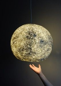 Moon made by Mazuni. Paper mache lamp.