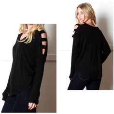 """🔴BOGO FREE🔴 Black Cold Shoulder Open Panel Top *NWOT *V-neck *Long sleeves *Cold shoulder arm panels *Comfortable loose fit *Rayon/spandex *S  Armpit-to-armpit: 24"""" Length: 23""""   •NO TRADE/HOLD  •YES BUNDLES   •PLEASE ASK QUESTIONS & READ DESCRIPTIONS. Measurements and sizing recommendations are for guidance purposes only. I cannot guarantee fit❗️ Boutique Tops Tees - Long Sleeve"""