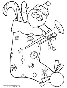 Merry Christmas! Come have fun with this printable coloring page of a nice Christmas stocking filled of gifts!