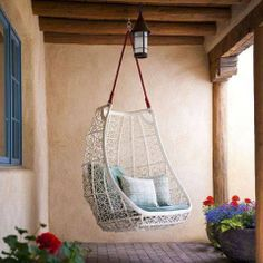 Santa Fe Furniture Stores Southwestern Patio and Adobe Brick Paving Clean Egg Chair Exposed Beams Hanging Chair Modern Outdoor Cushions Patio Furniture Stucco Swing Swing Design, Patio Design, House Design, Chair Design, Adobe Haus, Patio Plus, Patio Swing, Swing Chairs, Swing Beds