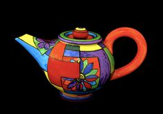 teapot with flowers in squares