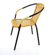 Marko Outdoor Bistro Chair Outdoor Tan Wicker Rattan Woven Seat Black Metal  Frame Patio Seats