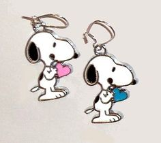 Snoopy with Heart Silver Plated pierced earrings