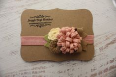 Large Mixed Felt Flower Bouquet in Vintage Pink, Cream and Taupe - Fall Flower Headband - Photo Prop - SBB Original