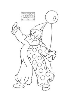 Free Clown Embroidery Transfer Pattern