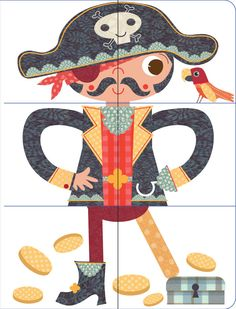 by Stephanie Hinton, via Behance puzzels piraat, cowboy, superheld enz.