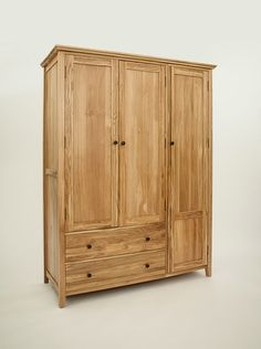 Hereford Rustic Oak Triple Gents Wardrobe with 2 Drawers Hanging Wardrobe, Oak Wardrobe, Dovetail Drawers, Selling Furniture, Hereford, Light Oak, Traditional Design, Wardrobes, Contemporary Furniture