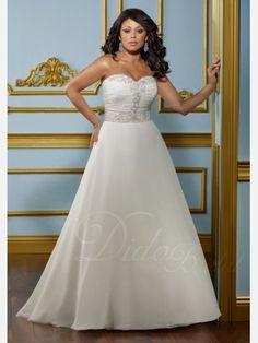 Plus Size Sweetheart Wedding Dresses | A-line Sweetheart Organza over Satin Plus Size Wedding Dress - Didobridal