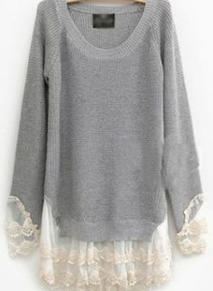 Pretty Lace Round Neck Gray Sweater S004613,  Sweater, Pretty Lace Round Neck Gray Sweater, Chic