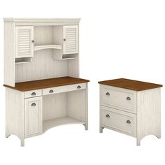 Bush Furniture Stanford Computer Desk With Hutch And 2 Drawer Lateral File Cabinet, Antique White/Tea Maple, Standard Delivery Computer Desk With Hutch, Desk Hutch, Desk With Drawers, Computer Desks, Cubby Shelves, 5 Shelf Bookcase, Desk And Chair Set, Office Suite, Desk Office