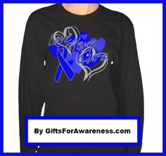 """Love Hope Cure"" whimsical heart shape designs for Colon Cancer Awareness shirts, apparel and gifts by giftsForAwareness.com"