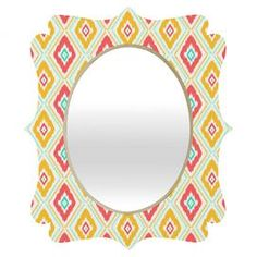 """Diamond-patterned wall mirror by Jacqueline Maldonado for DENY Designs.   Product: MirrorConstruction Material: Engineered wood and aluminumColor: MultiFeatures:  Original design by Jacqueline Maldonado for DENY DesignsGlossy aluminum face     Dimensions:   Small: 19.5"""" H x 14.5"""" W   Medium: 29.2"""" x 21.7""""  Large: 36"""" H x 30"""" W     Cleaning and Care: Spot clean with window cleaner"""